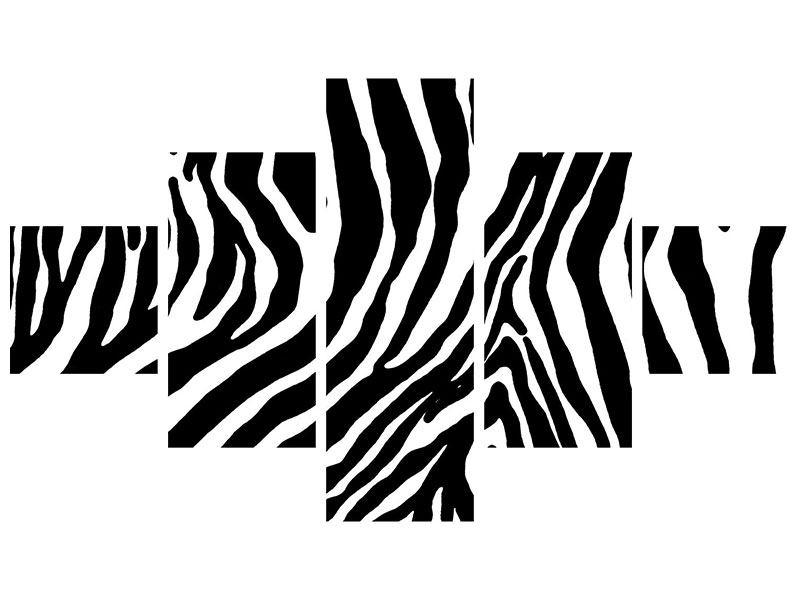 Aluminiumbild 5-teilig Zebramuster