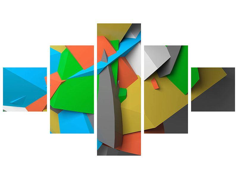 Aluminiumbild 5-teilig 3D-Geometrische Figuren