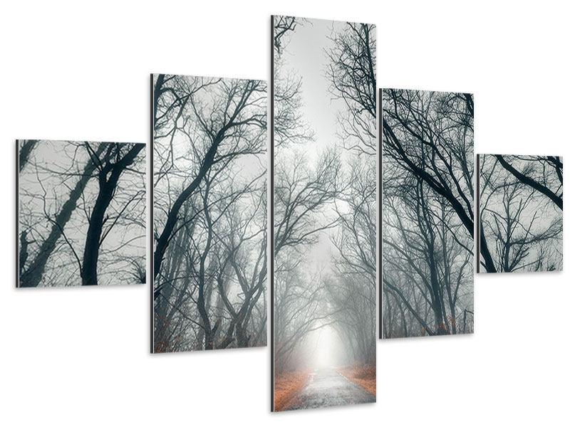 Aluminiumbild 5-teilig Mysteriöse Stimmung im Wald