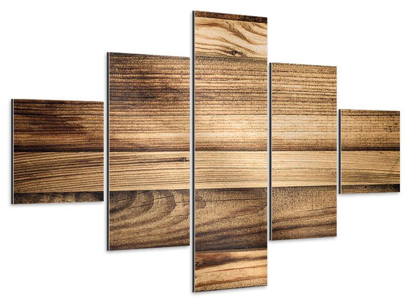Aluminiumbild 5-teilig Holztrend