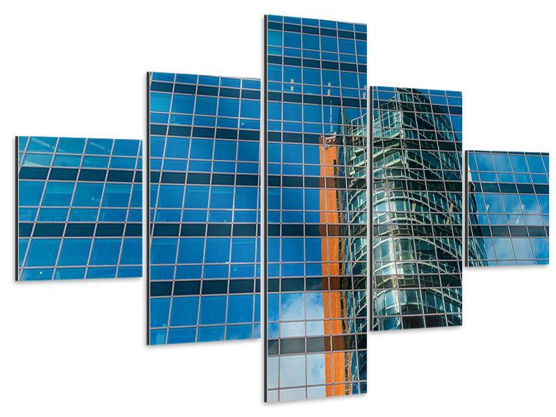 Aluminiumbild 5-teilig Wolkenkratzer-Spiegel