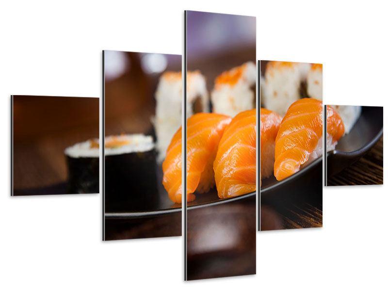 Aluminiumbild 5-teilig Sushi-Gericht