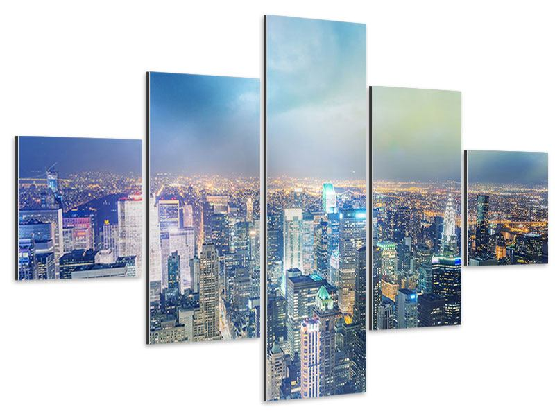 Aluminiumbild 5-teilig Skyline NY bei Sonnenuntergang