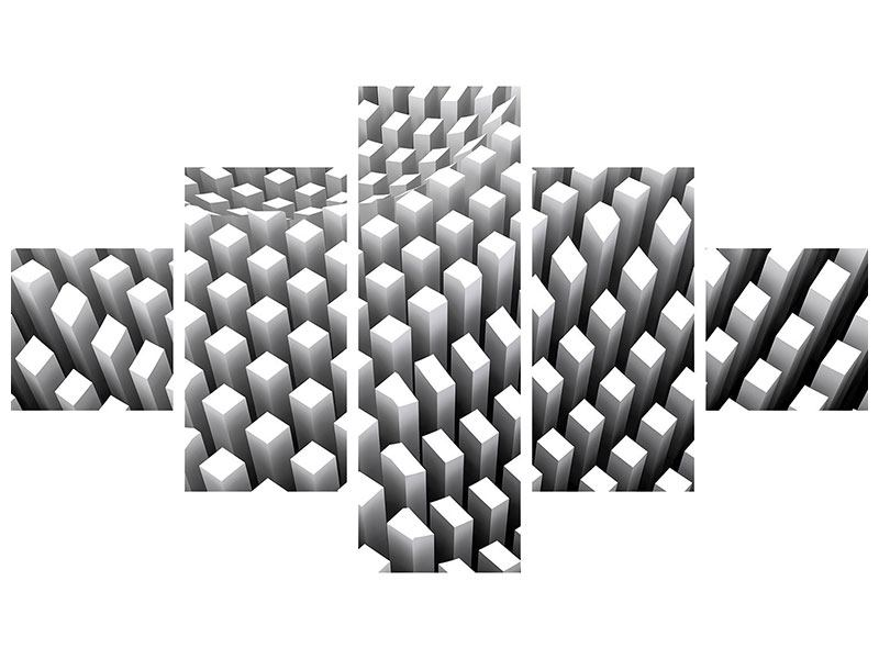 Aluminiumbild 5-teilig 3D-Rasterdesign