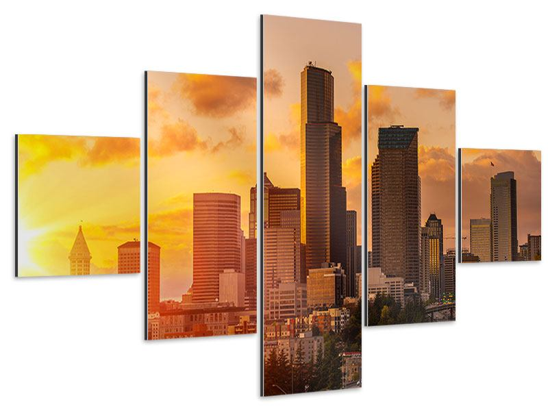 Aluminiumbild 5-teilig Skyline Washington