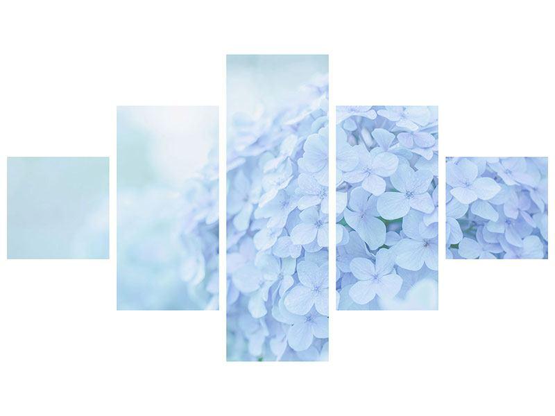 Aluminiumbild 5-teilig Die Hortensie