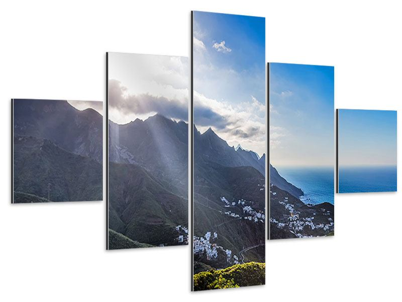 Aluminiumbild 5-teilig Der Frühling in den Bergen