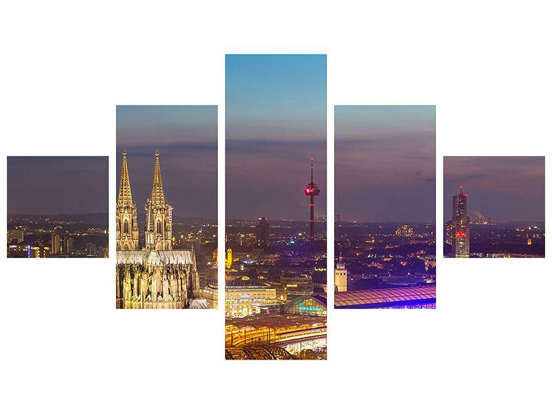 Aluminiumbild 5-teilig Skyline Kölner Dom bei Nacht