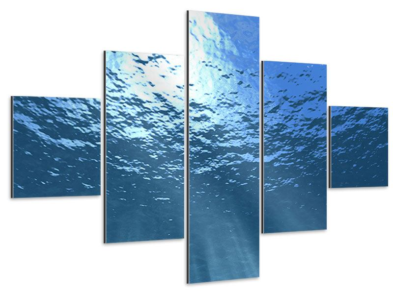 Aluminiumbild 5-teilig Sonnenstrahlen unter Wasser