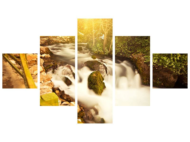 Aluminiumbild 5-teilig Sonnenuntergang am Wasserfall
