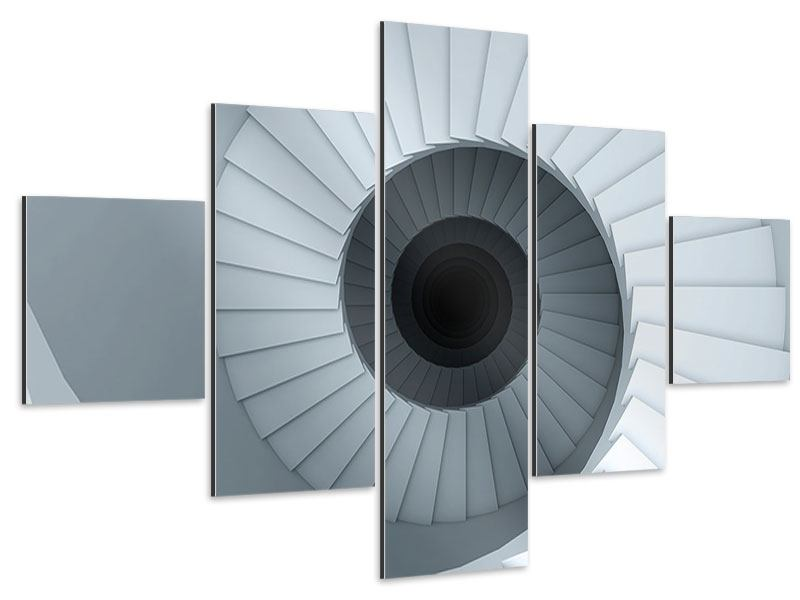 Aluminiumbild 5-teilig 3D Wendeltreppe