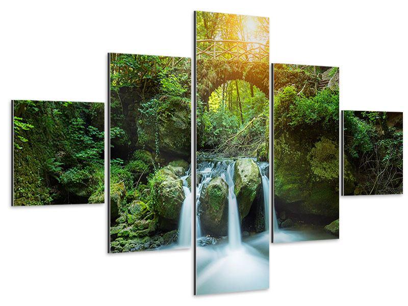 Aluminiumbild 5-teilig Wasserspiegelungen