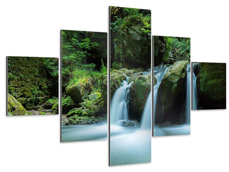 Aluminiumbild 5-teilig Fallendes Wasser