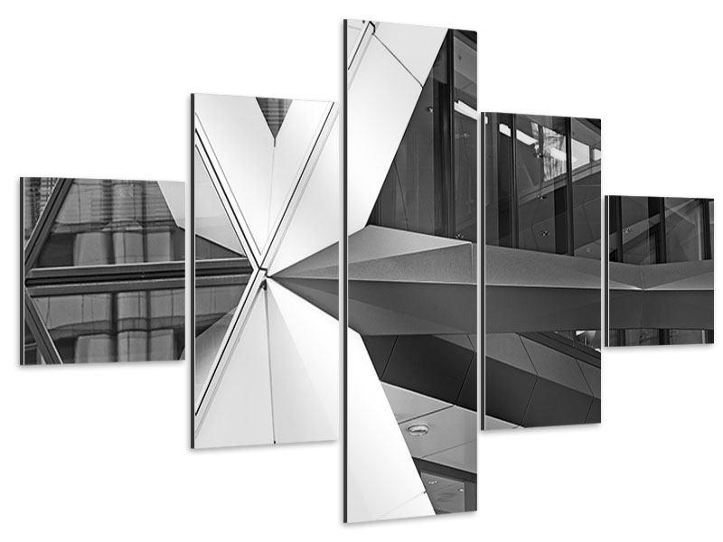 Aluminiumbild 5-teilig Teil eines Wolkenkratzers