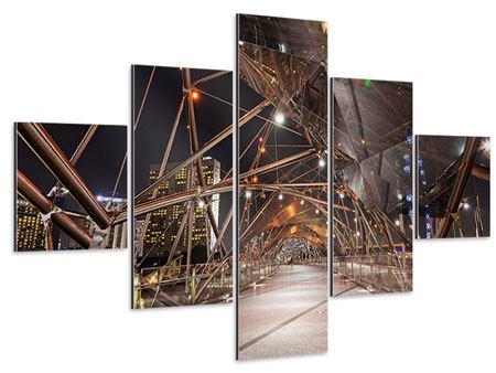 Aluminiumbild 5-teilig Brückenlichter