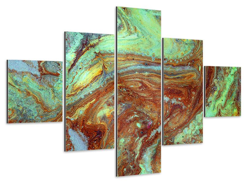 Aluminiumbild 5-teilig Marmor in Grün
