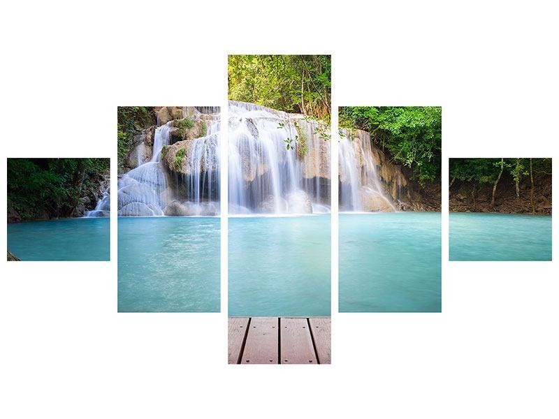 Aluminiumbild 5-teilig Terrasse am Wasserfall