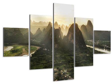 Aluminiumbild 5-teilig Die Berge von Xingping