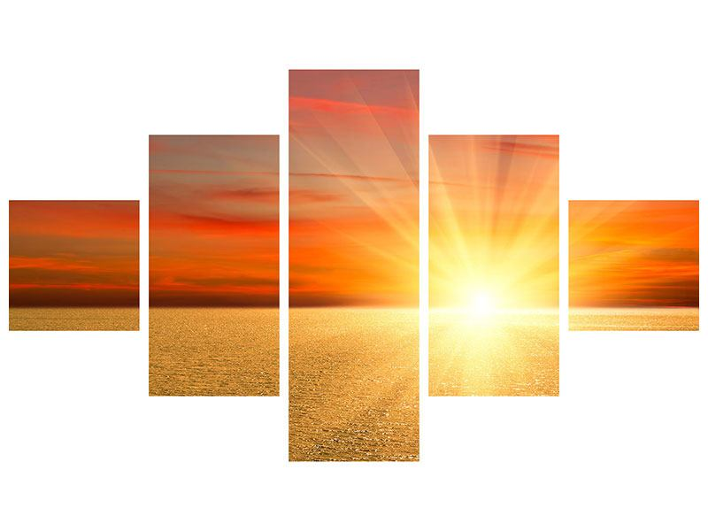 Aluminiumbild 5-teilig Der Sonnenuntergang