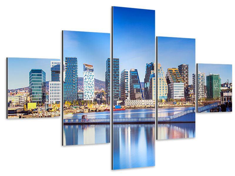 Aluminiumbild 5-teilig Skyline Oslo
