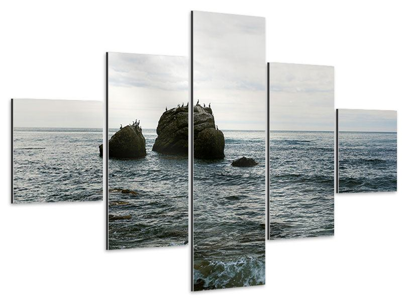 Aluminiumbild 5-teilig Leise Wellen