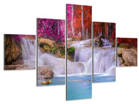 Aluminiumbild 5-teilig Paradiesischer Wasserfall