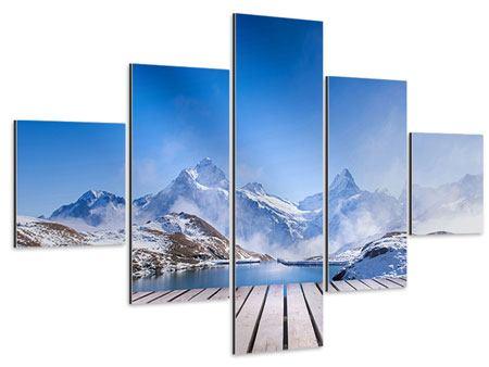 Aluminiumbild 5-teilig Sonnenterrasse am Schweizer Bergsee