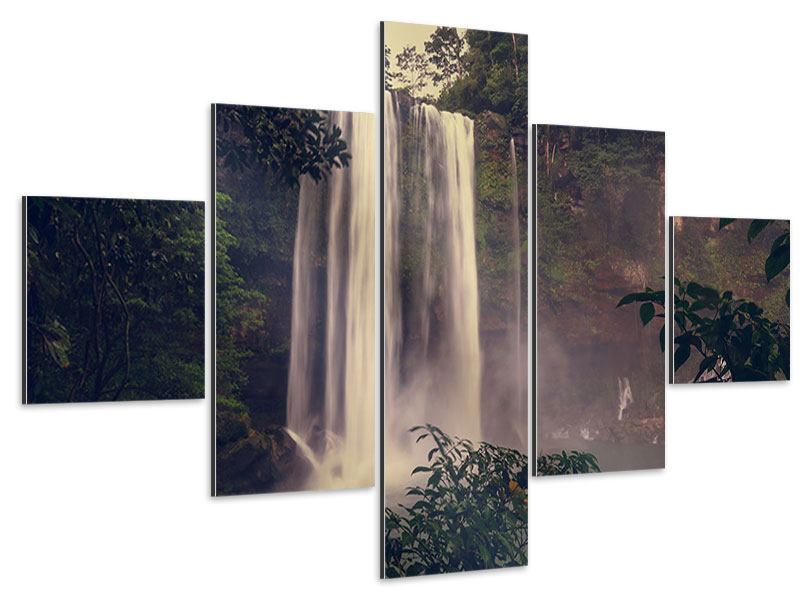 Aluminiumbild 5-teilig Wasserfall in Mexiko