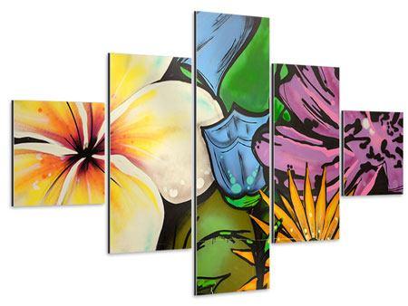 Aluminiumbild 5-teilig Graffiti Flowers