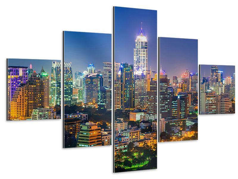 Aluminiumbild 5-teilig Skyline One Night in Bangkok