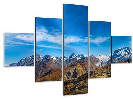 Aluminiumbild 5-teilig Schweizer Alpen im Frühling