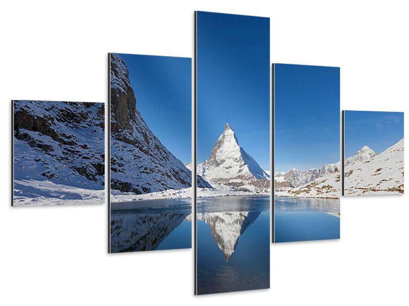 Aluminiumbild 5-teilig Der Riffelsee am Matterhorn