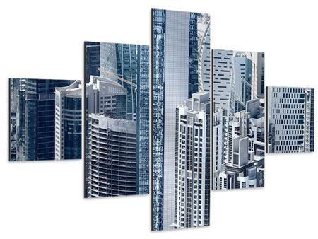 Aluminiumbild 5-teilig Die Wolkenkratzer von Dubai