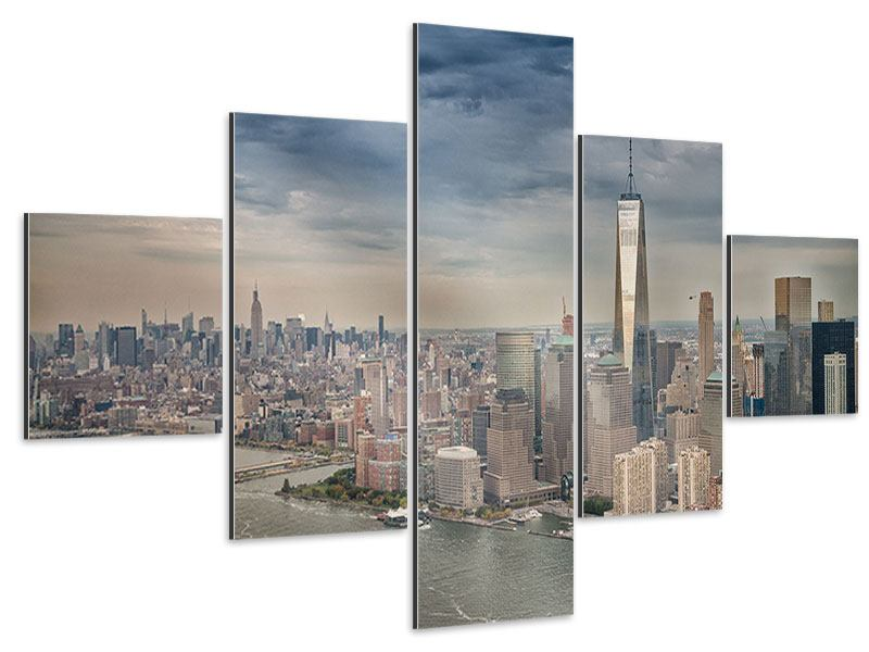 Aluminiumbild 5-teilig Skyline Manhattan