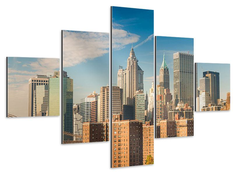 Aluminiumbild 5-teilig Skyline New York