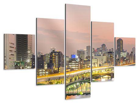 Aluminiumbild 5-teilig Skyline Das Lichtermeer von Tokio