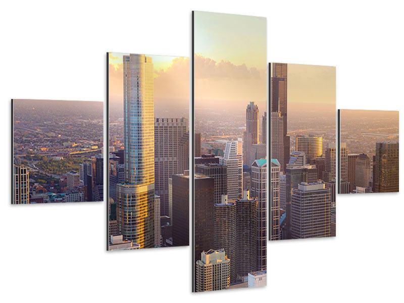 Aluminiumbild 5-teilig Skyline Chicago