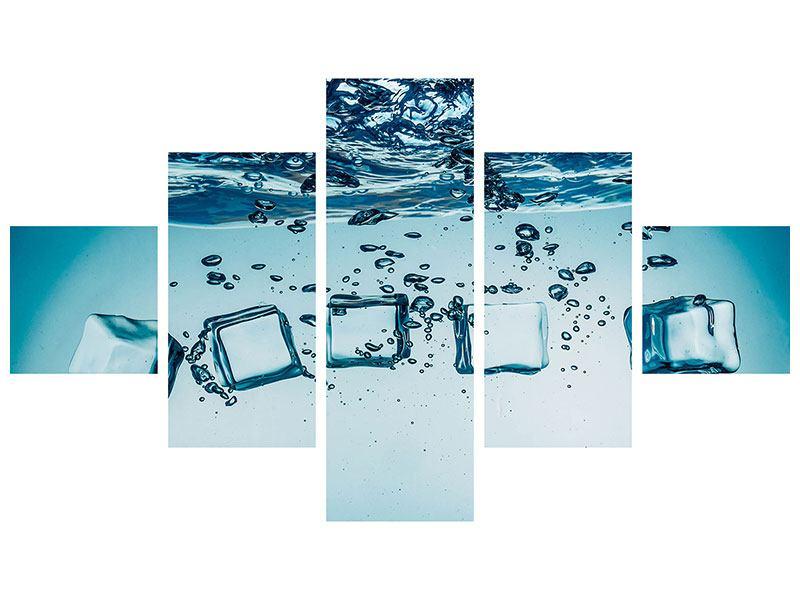 Aluminiumbild 5-teilig Eiswürfel-Quadro