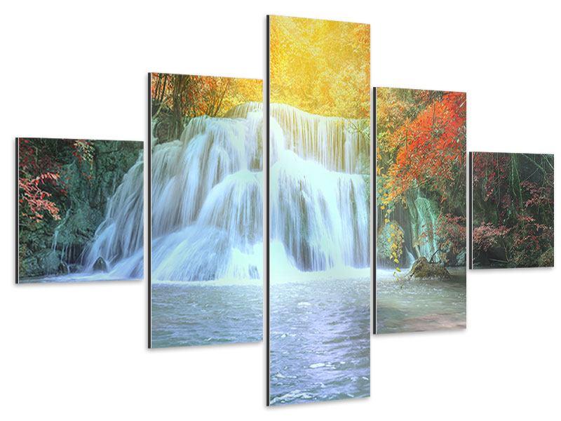 Aluminiumbild 5-teilig Wasserfall im Licht