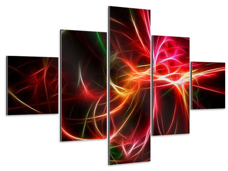 Aluminiumbild 5-teilig Fraktales Lichtspektakel