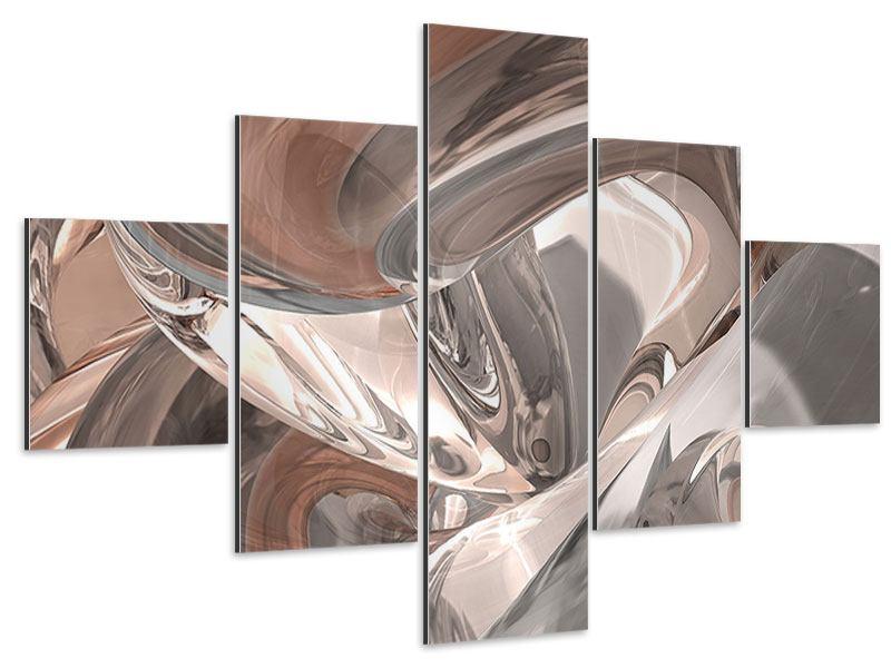 Aluminiumbild 5-teilig Abstraktes Glasfliessen