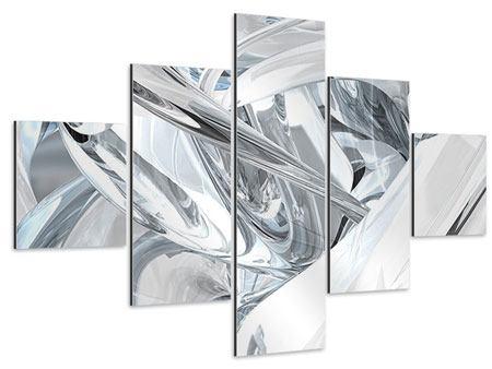 Aluminiumbild 5-teilig Abstrakte Glasbahnen