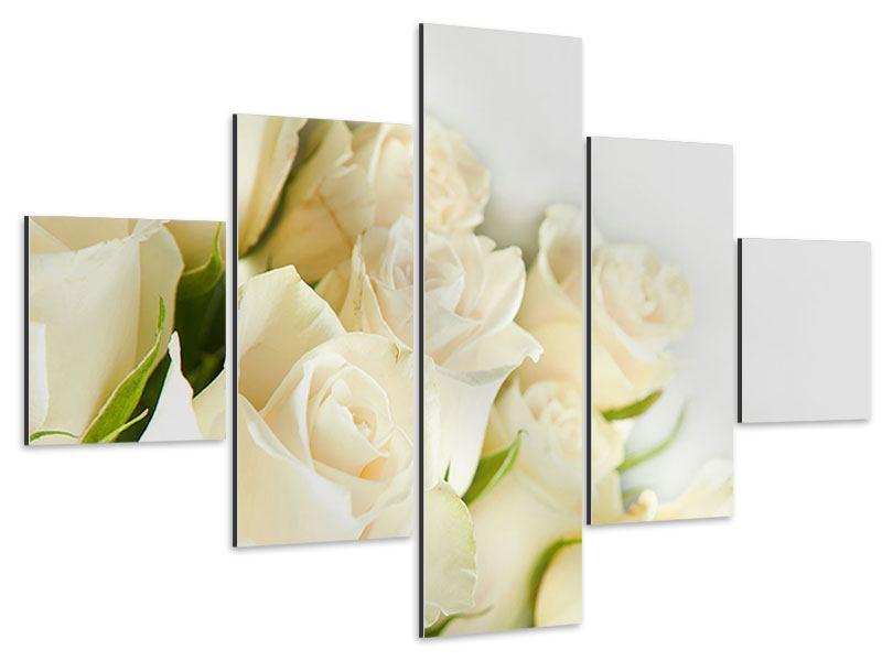 Aluminiumbild 5-teilig Weisse Rosen