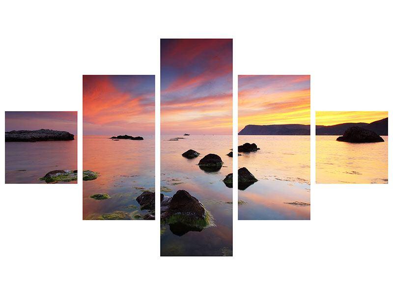 Aluminiumbild 5-teilig Ein Sonnenuntergang am Meer