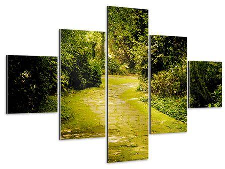 Aluminiumbild 5-teilig Der bemooste Weg