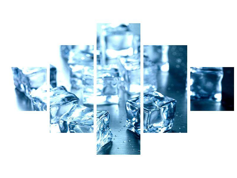 Aluminiumbild 5-teilig Viele Eiswürfel