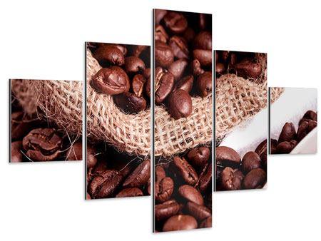 Aluminiumbild 5-teilig XXL Kaffeebohnen