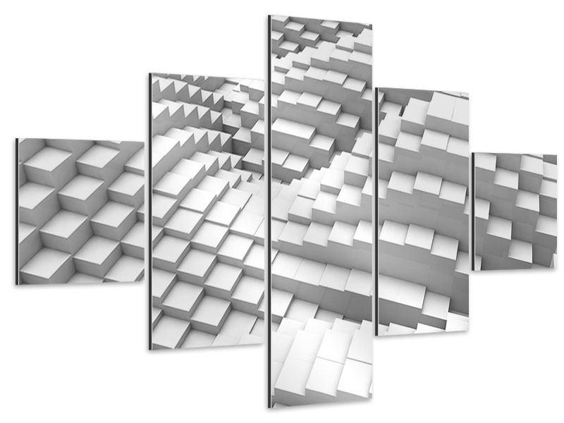 Aluminiumbild 5-teilig 3D-Elemente