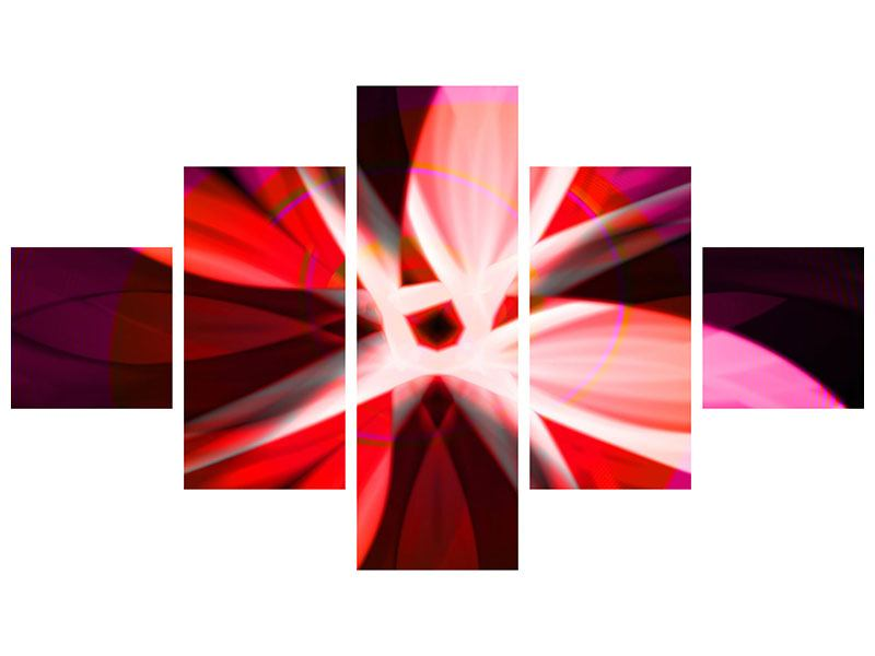 Aluminiumbild 5-teilig Abstrakt Flower Power