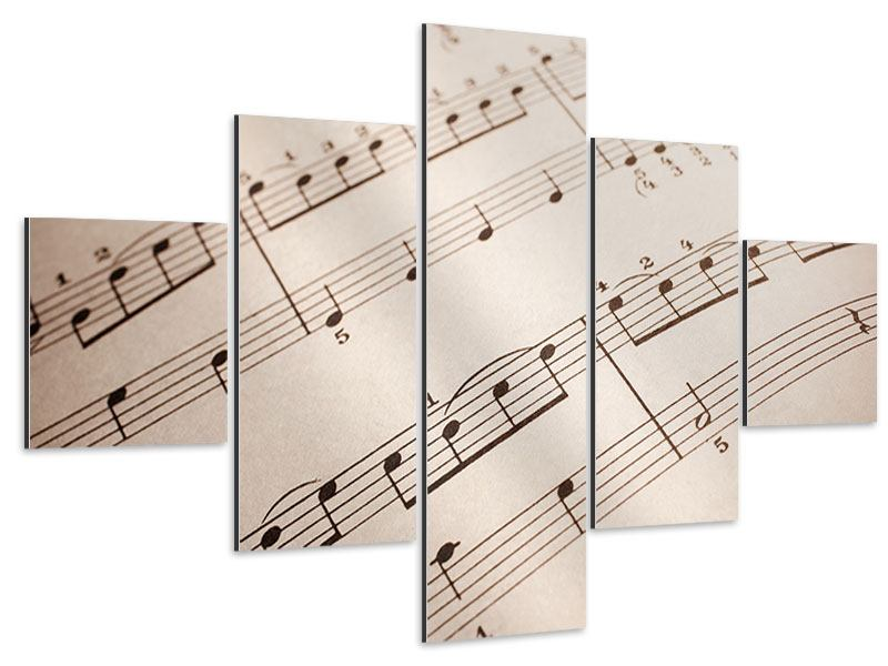 Aluminiumbild 5-teilig Das Notenblatt